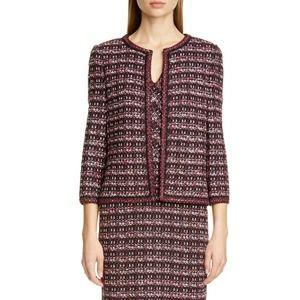 St. John Multi Tuck Tweed Knit Jacket